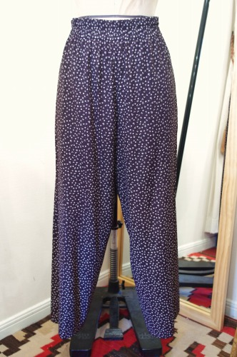 80'S~ FLOWER PRINT EASY PANTS(BLK/WHT・MADE IN USA)