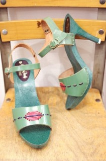 DEAD STOCK 70'S~ ANKLE STRAP HIGH HEEL SANDAL(GRN・MADE IN ITALY)