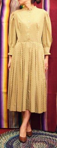 50'S~ ANNE FOGARTY PUFF SLEEVE DOT COTTON DRESS (L.BRN/O.WHT)