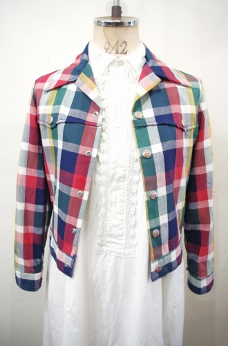 70'S~ BILLY THE KID CHECK FULL SNAP SHORT JACKET (WHT/NVY/GRN/YLW/BGDY)