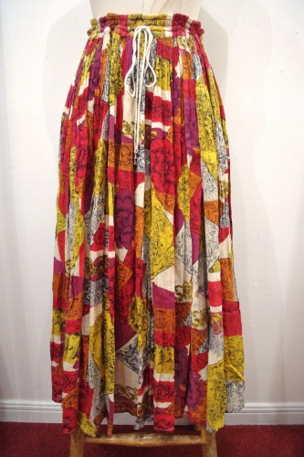 80'S~ INDIA COTTON FLOWER PRINT MAXI SKIRT(L.BEIGE/ORG/RED/D.YLW/BLK)