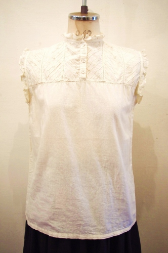 70'S~ FLOWER EMBROIDERY BEADED COTTON FRILL TOPS(IVY)