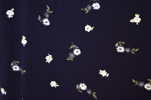 80'S~ ALL THAT JAZZ FLOWER PRINT RAYON DRESS(D.NVY・MADE IN USA)