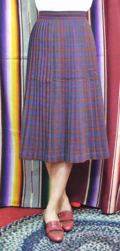 60'S~ WOOL CHECK PLEATED SKIRT (D.BRN/RED/GRN/BLE)