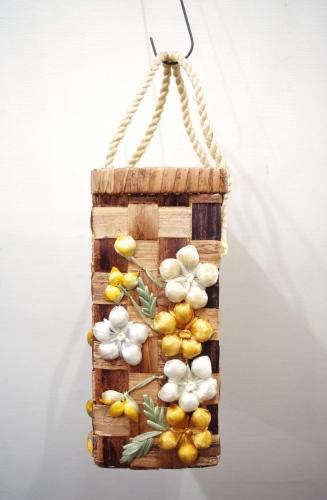 70'S~ FLOWER EMBROIDERED SQUARE BASKET HAND BAG(N.BRN)