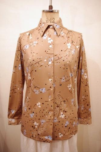 70'S~ ALFRED DUNNER FLOWER PRINT SHIRTS(BEIGE)