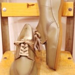 DEAD STOCK 50'S~60'S V-TIP LOW WEDGE LACE UP SHOES(OLV)
