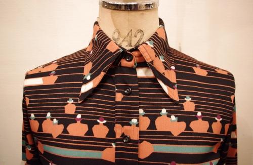 70'S~ HUK・A・POO ART DECO PRINT SHIRTS(BLK)