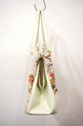 60'S~ FLOWER NEEDLEPOINT CLASP HANDBAG(IVY)