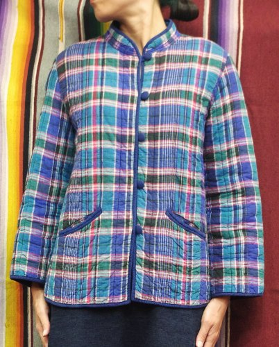 80'S~ INDIA COTTON MADRAS CHECK QUILTING JACKET (BLE/GRN/PNK)
