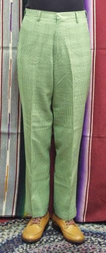 60'S~ KORATRON CHECK SLACKS PANTS(GRN/YLW)