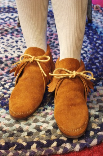 DEAD STOCK MINNETONKA SUEDE MOCCASIN FRINGE ANKLE BOOTS(BRN・MADE IN USA)