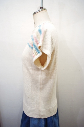 70'S~ FRENCH SLEEVE BORDER COTTON SUMMER KNIT TOPS(IVY)