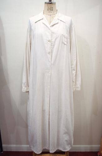 VINTAGE COTTON LONG NIGHT DRESS(WHT)