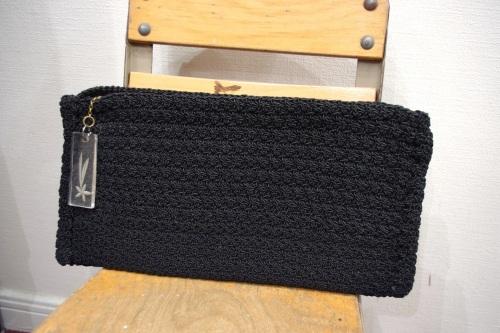 vintage crocchet corde cluch bag