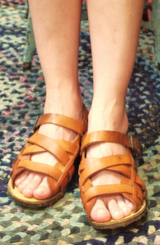 70'S~ MONTGOMERY WARD WOOD LOW WEDGE LEATHER SANDAL(L.BRN)