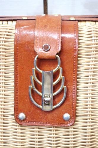 70'S~ RATTAN & LEATHER BASKET HAND BAG(NTRL/L.BRN)