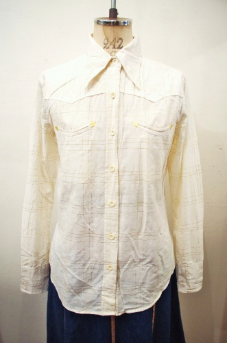 DEAD STOCK 70'S~ INDIA COTTON WESTERN YORK LONG SLEEVE SHIRTS(IVY)