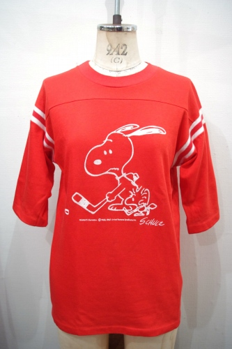 70'S~ SNOOPY FOOTBALL T-SHIRTS(RED/WHT)
