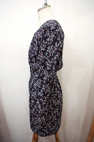 80'S~ FLOWER PRINT RAYON MINI TIGHT DRESS WITH BELT (BLK・MADE IN USA)
