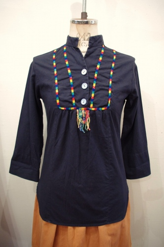 70'S~ MAO COLLAR PULL OVER ETHNIC SHIRTS TOPS(BLK)
