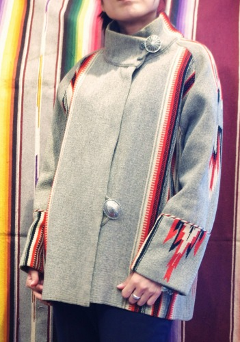 40'S~ STAND COLLAR CHIMAYO JACKET(GRY/BLK/WHT/RED)