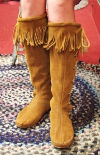 DEAD STOCK MINNETONKA SIDE LACE UP SUEDE MOCCASIN LONG BOOTS(BRN・MADE IN USA)