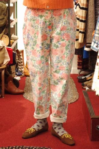DEAD STOCK 80'S~ LEE FLOWER PRINT DENIM CAPRI PANTS(WHT/PNK)