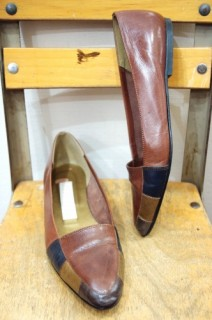 PERRY ELLIS PANNEL POINTED TOE FLAT PUMPS SHOES(BRN・MADE IN ITALY)