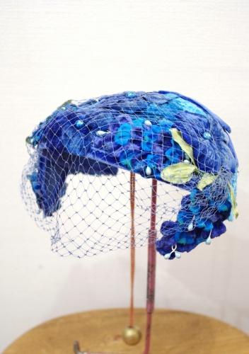 VINTAGE BLUE FLOWER TULLE HEADDRESS