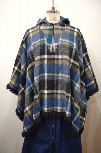 60'S~70'S CHECK HALF-ZIP HOODED WOOL PONCHO(BLK/D.BLE/WHT/OLV)