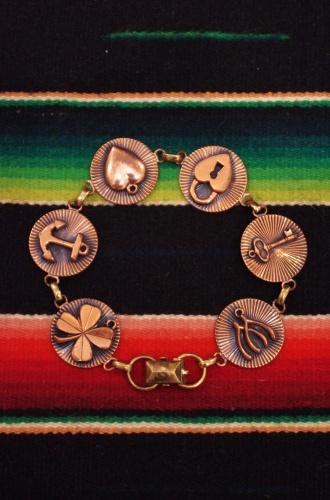 70'S~ LUCKY CHARM COPPER LINK BRACELET