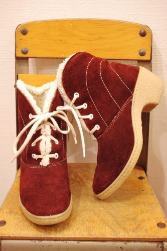70'S~ SUEDE & BOA LACE UP BOOTIE SHORT BOOTS(BGDY/MADE IN ITALY)