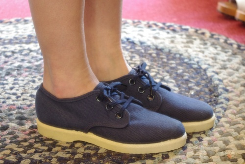 DEAD STOCK 60'S~ CANVAS SHOES BOOSTER TYPE(NVY)
