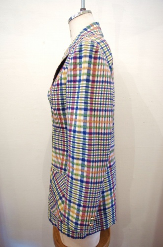 70'S~ SEERSUCKER GOLD BUTTON CHECK TAILORED JACKET(WHT/BLE/RED/ORG/GRN)