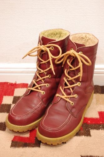 70s leather boa boots