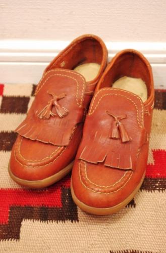 vintage 70s kilt tassel loafer shoes