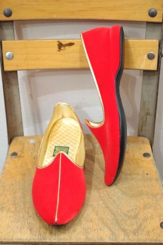 DEAD STOCK 50'S~60'S DANIEL GREEN COMFY SLIPPER VELVET ROOM SHOES(RED/GLD)