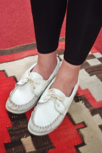 DEAD STOCK MINNETONKA SMOOTH LEATHER MOCASSIN SHOES(MADE IN USA/WHT)