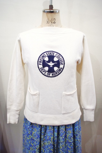 50'S~ BOAT NECK FLOCK PRINT COLLEGE SWEAT (WHT/NVY)