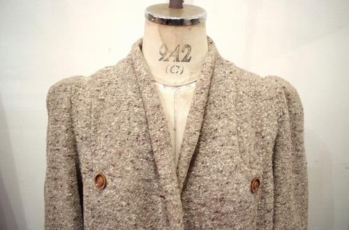 70'S~ PUFF SHOULDER NEP TWEED COAT(L.BEIGE)