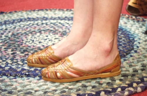DEAD STOCK 80'S~ LEATHER MESH FLAT SHOES(BRN・MADE IN BRAZIL)