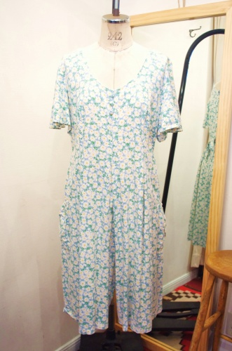80'S~ FLOWER PRINT BUTTERFLY SLEEVE JUMPSUIT ROMPERS(MADE IN USA/A.BLE)