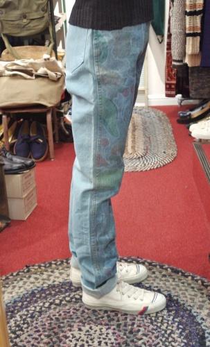 DEAD STOCK 80'S~ JORDUCHE FRUITS PRINT DENIM PANTS(I.BLE)