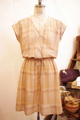 70'S~ FRENCH SLEEVE CHECK SEE-THROUGH ONE-PIECE (P.BEIGE/L.ORG)