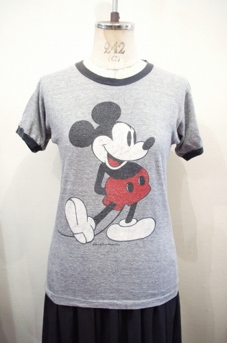 80'S~ MICKEY MOUSE PRINTED RINGER T-SHIRTS(GRY/BLK)