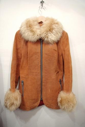70s suede & fur coat