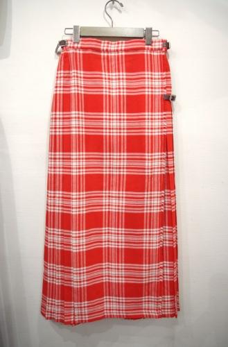 vintage check pleats wrap skirt