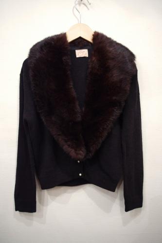 50's fur collar cardigan