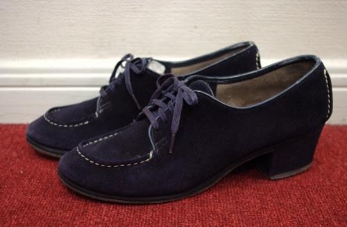 vintage suede lace up granny shoes
